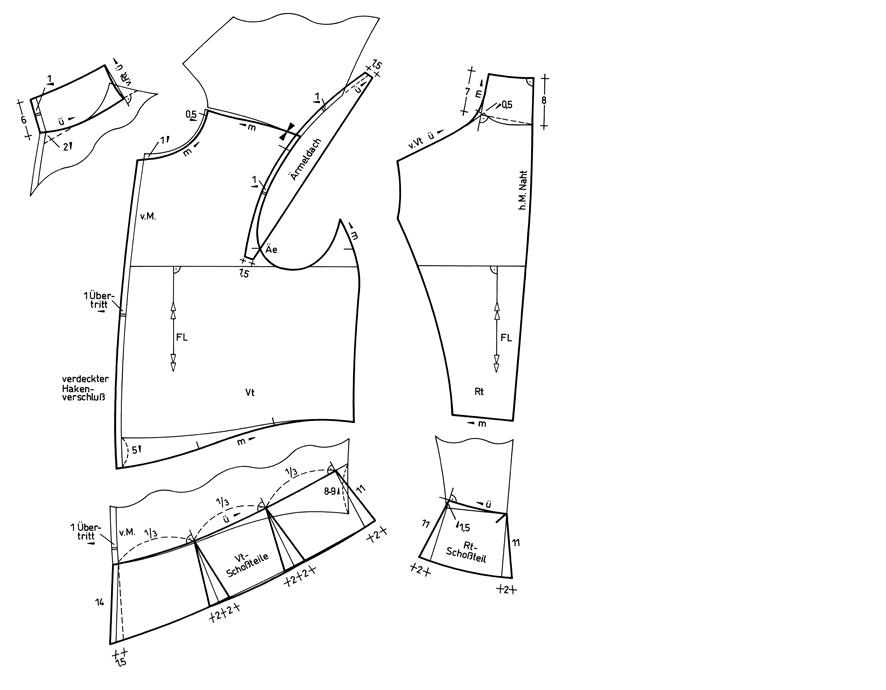 Schnittkonstruktion für ein Wams