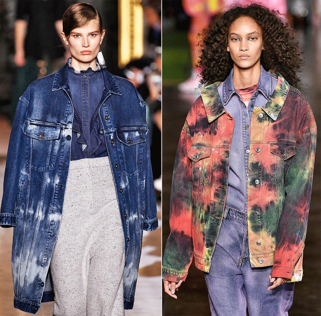 Zwei Models tragen gefärbten Jeansstoff.