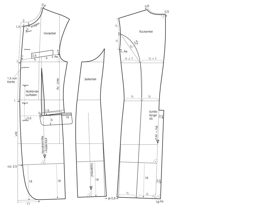 Schnittkonstruktion eines Gehrockes für den Bräutigam