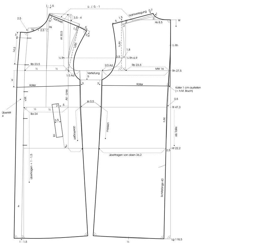 Schnittkonstruktion für einen Lodenmantel