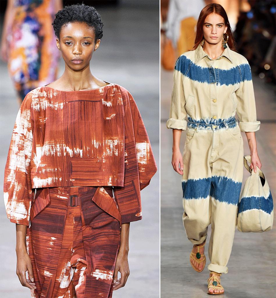 Zwei Models mit gebatikten Kleidungsstücken.
