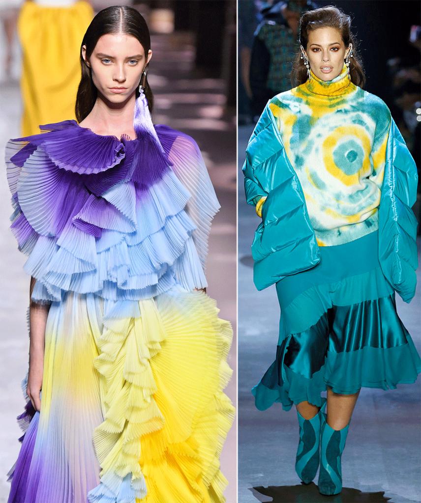 Zwei Models mit TieDye gefärbten Kleidungsstücken