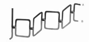 Darstellung eines Ober- und Unterfadens in Form eines Zickzackstichs.