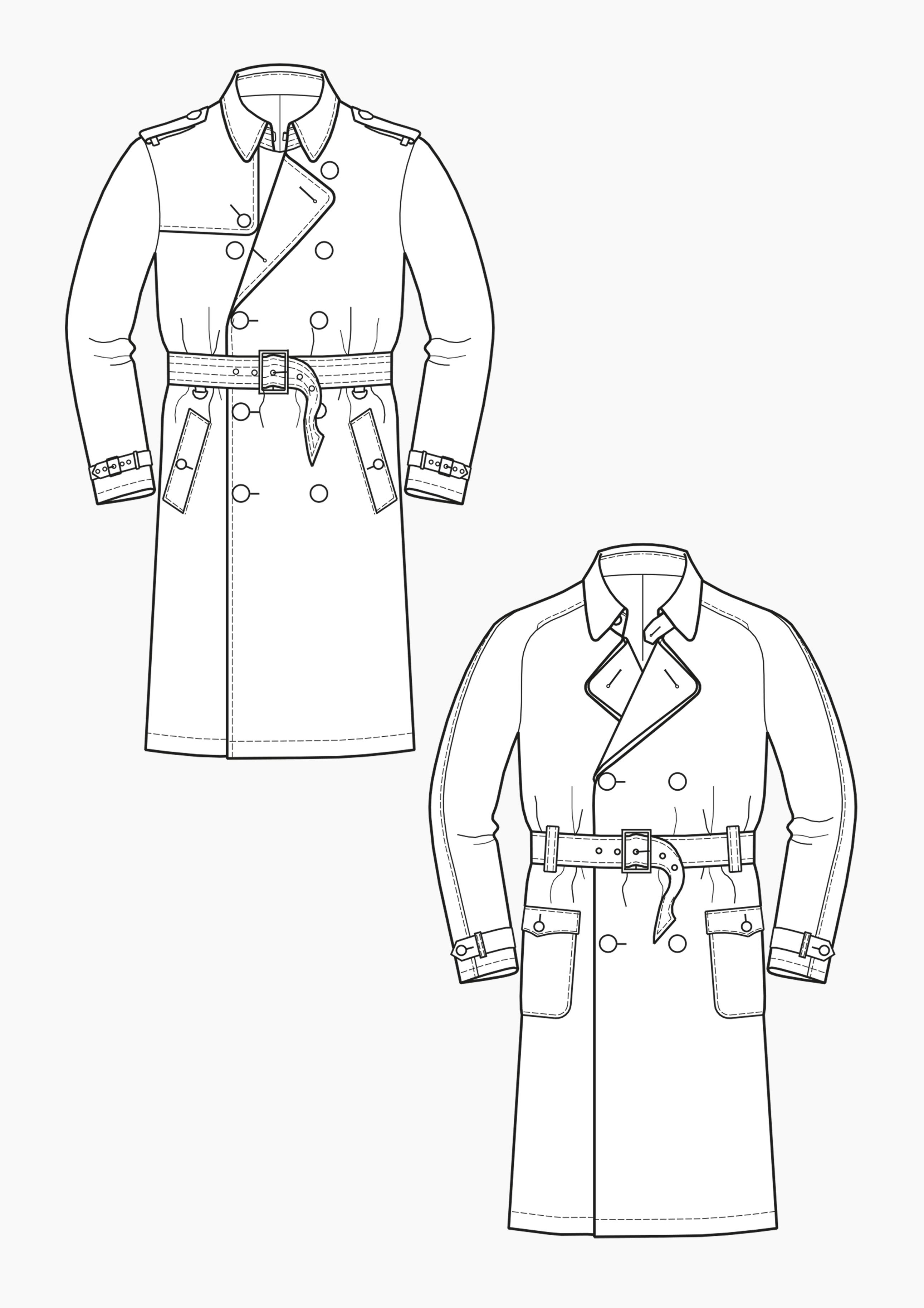 Produkt: Schnitt-Technik Trenchcoats für Herren