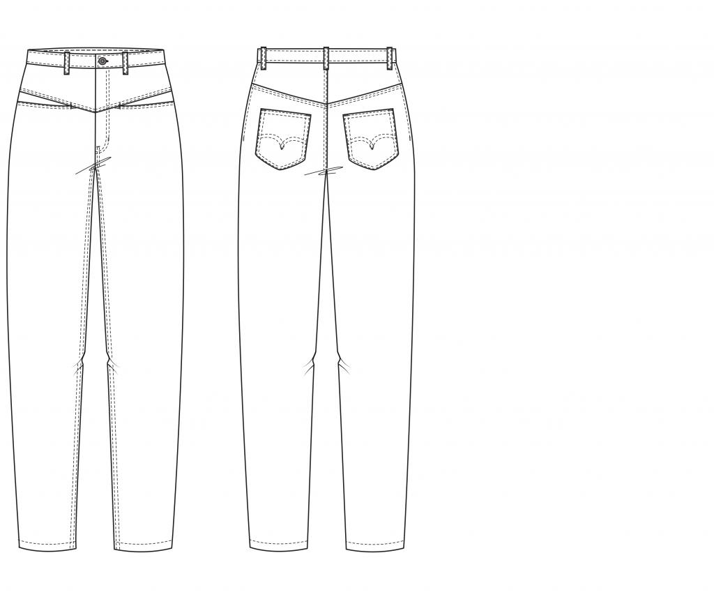 Das Foto zeigt die technische Zeichnung einer Mum-Jeans, die als Schnitt auf dem Schnittmusterbogen verfügbar ist.