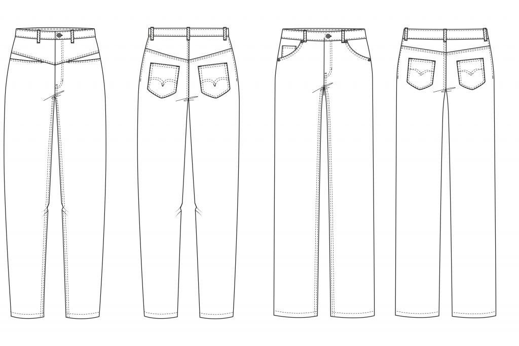 Das Bild zeigt die technischeN Zeichnungen der Modelle zweier Jeans für den Schnittmusterbogen.