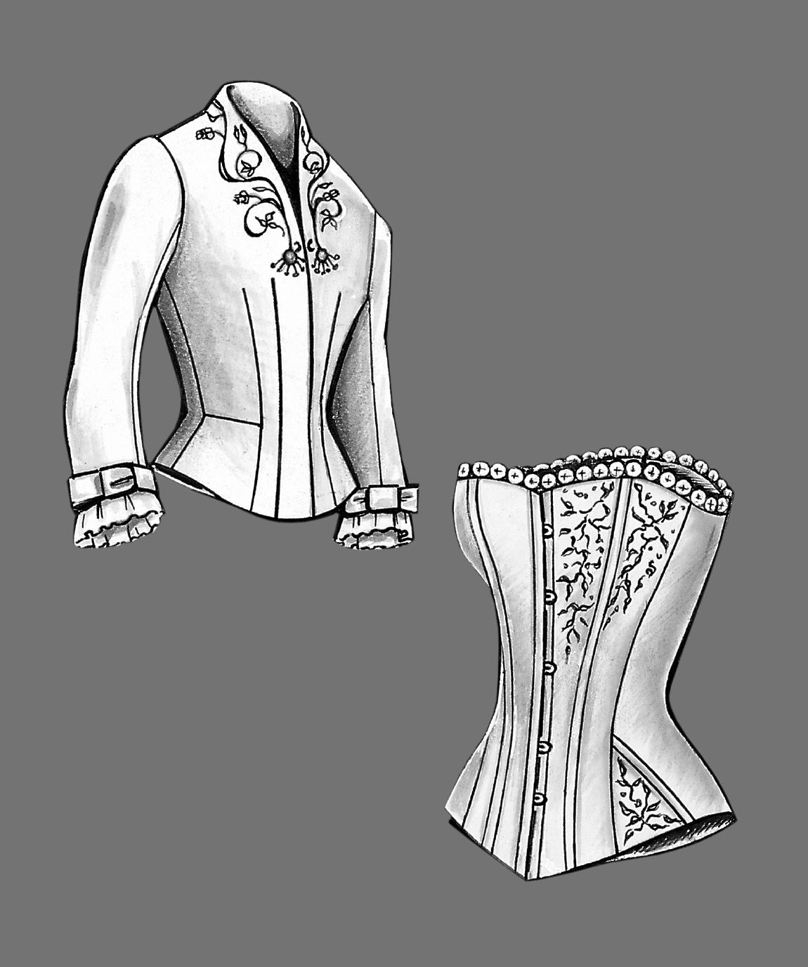 Korsett und Kleid aus der Gründerzeit