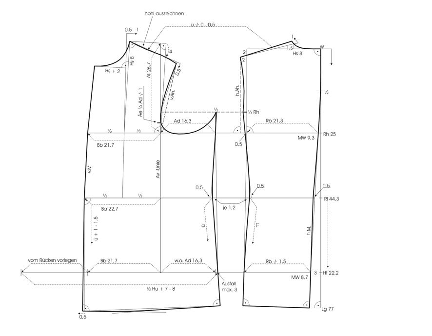 Schnittkonstruktion für den Grundschnitt einer Kochjacke