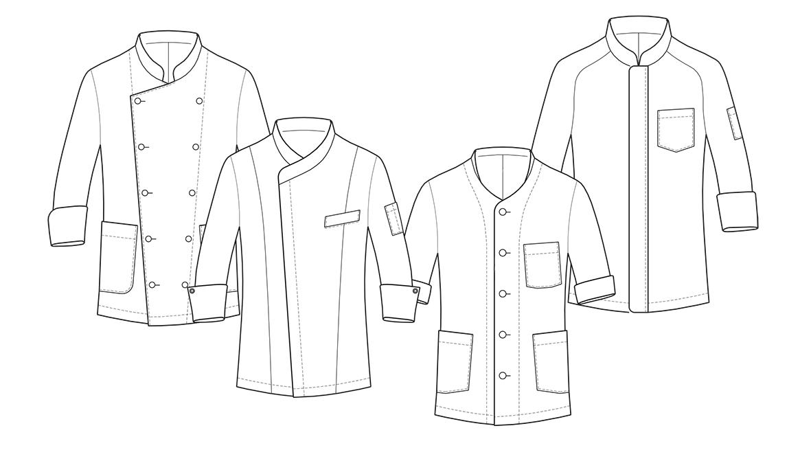 Vier verschiedenen Modelle der Kochjacken zum konstruieren der Schnittmuster