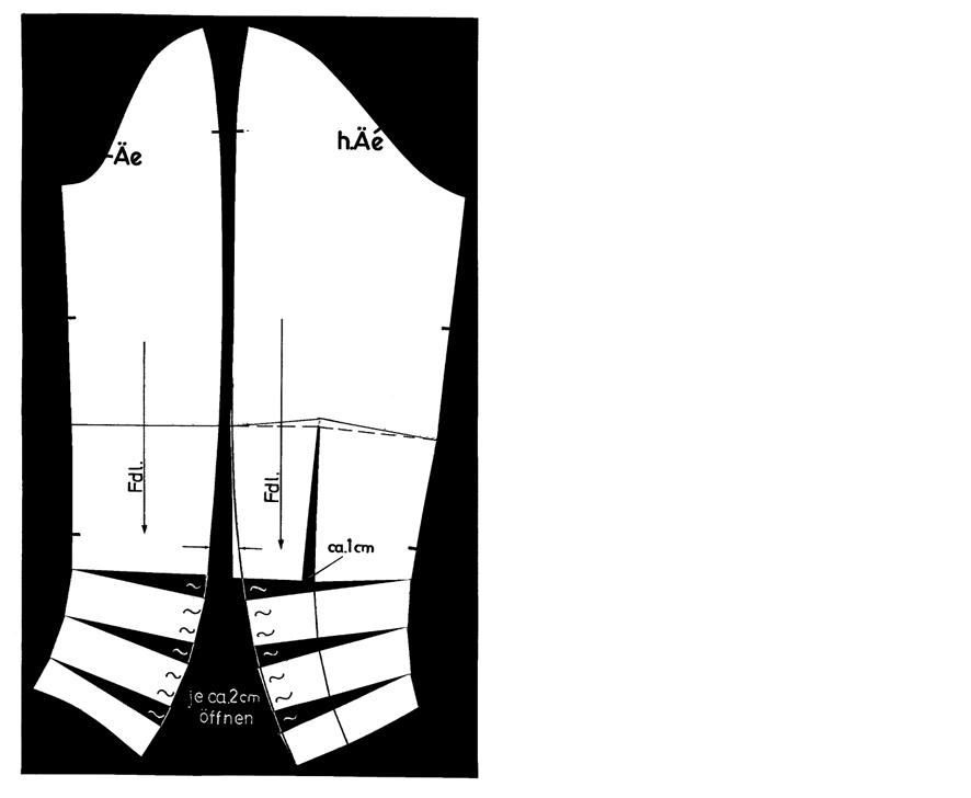 Schnittkonstruktion für einen Ärmel mit Raffung