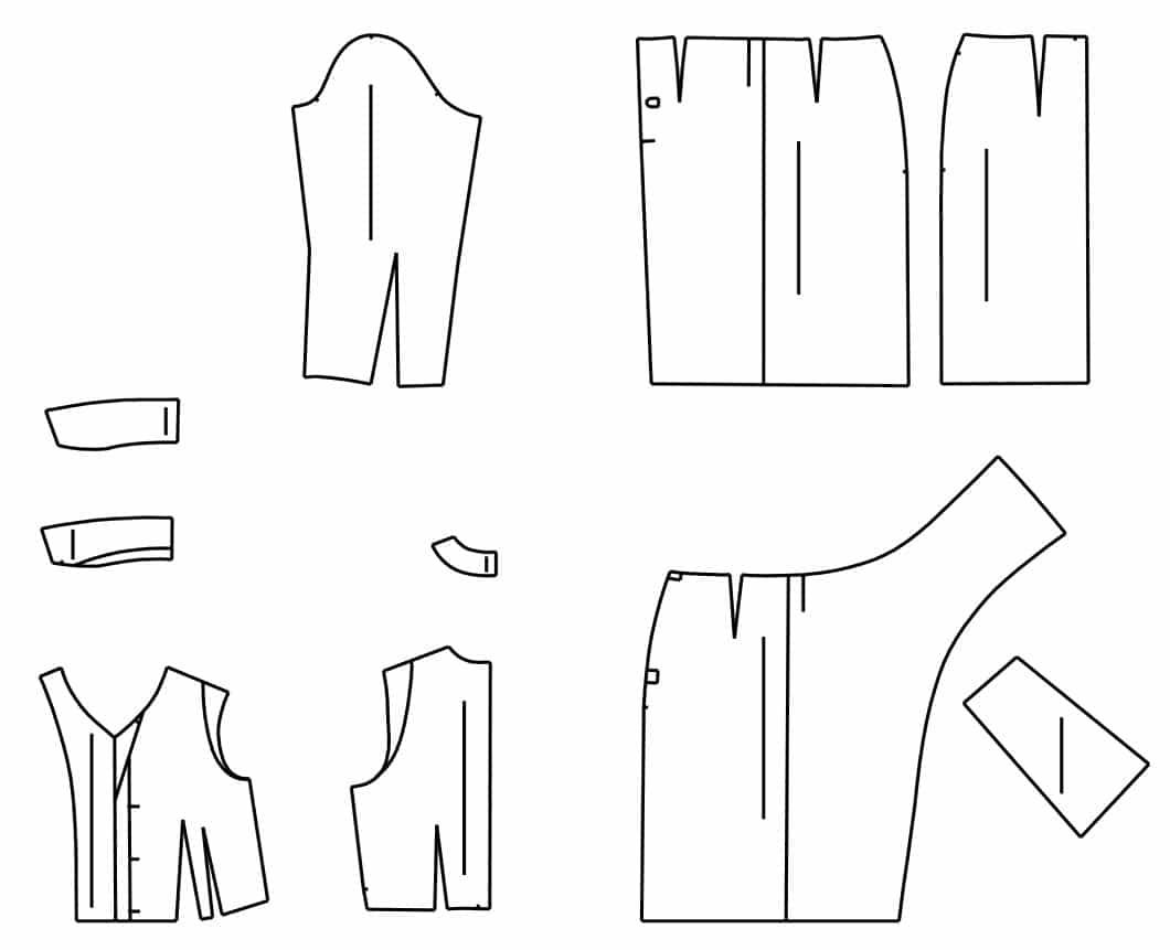 Schnittteile des Schnittmusters Hemdblusenkleid