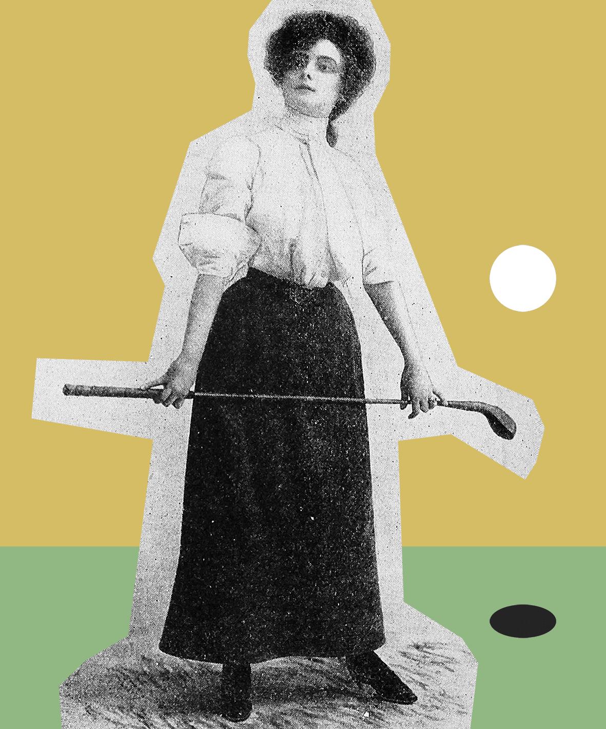 Historische Golfkleidung für Frauen im Jahre 1906.