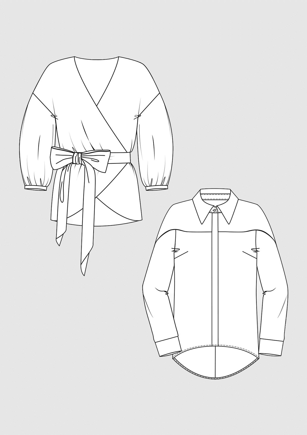 Produkt: Schnittmuster Hemd- und Wickel-Bluse