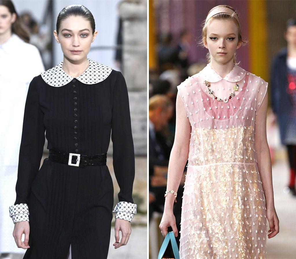 Kleider mit Bubikragen auf dem Laufsteg bei Chanel und Miu Miu