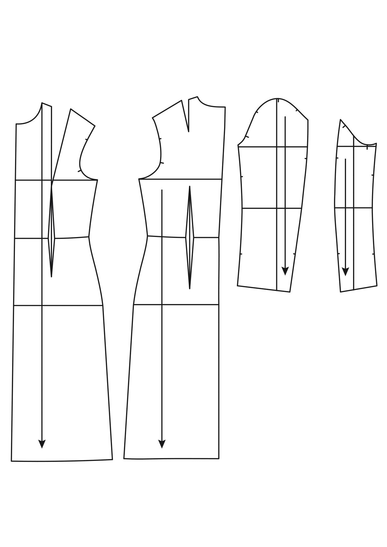 Einzelne Schnitteile des Schnittmusters Grundschnitt taillierter Mantel