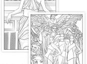 Probeseiten des Download Ausmalbuchs mit Illustrationen von F.V. Feyerabend