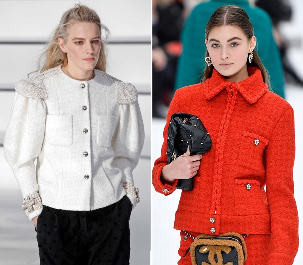 Chaneljacke in weiß und rot auf dem Laufsteg