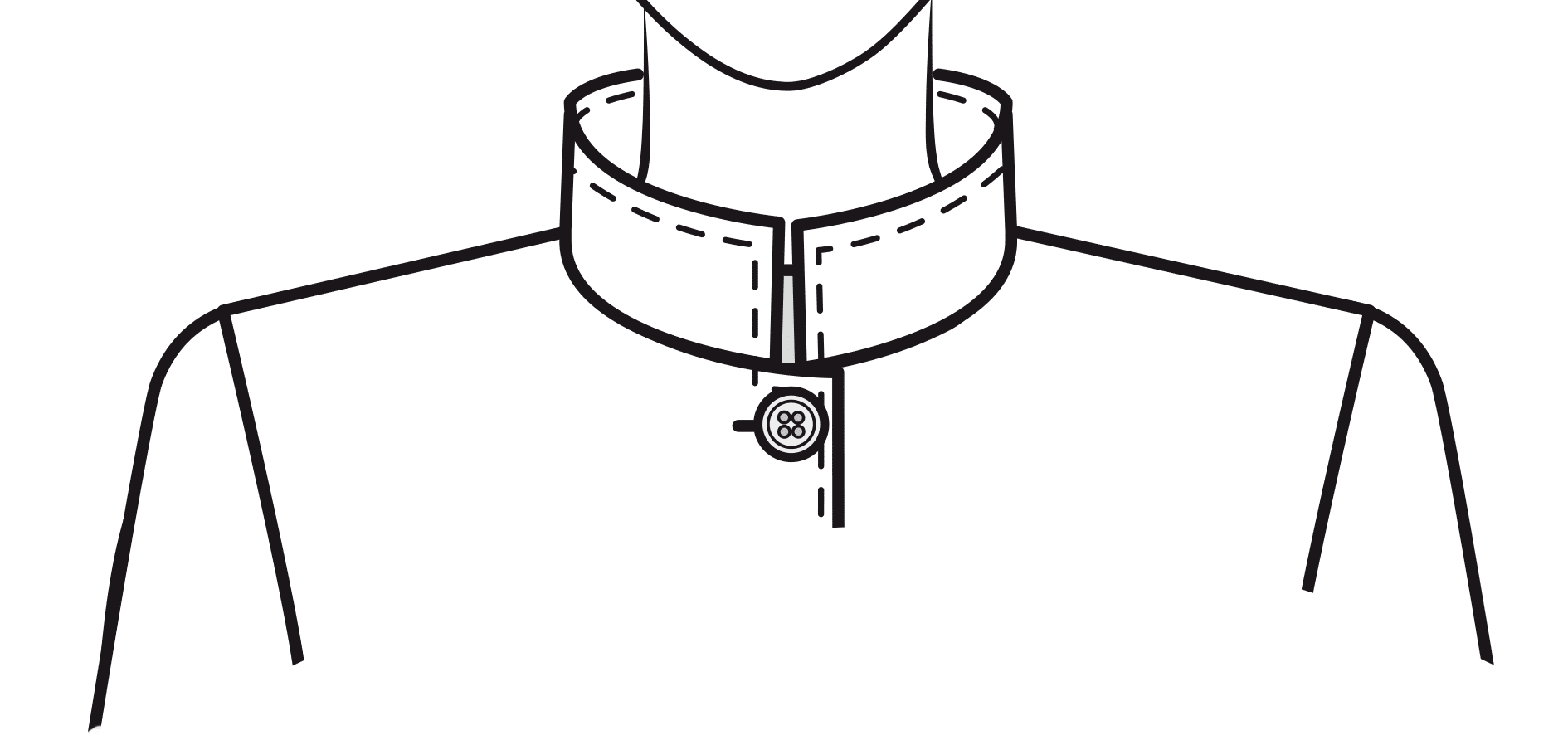 Breiter, zum Hals geneigter Kragen