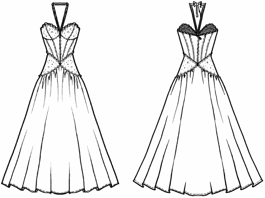 The photo shows the technical drawing of a dress. It´s the template for the pattern construction.