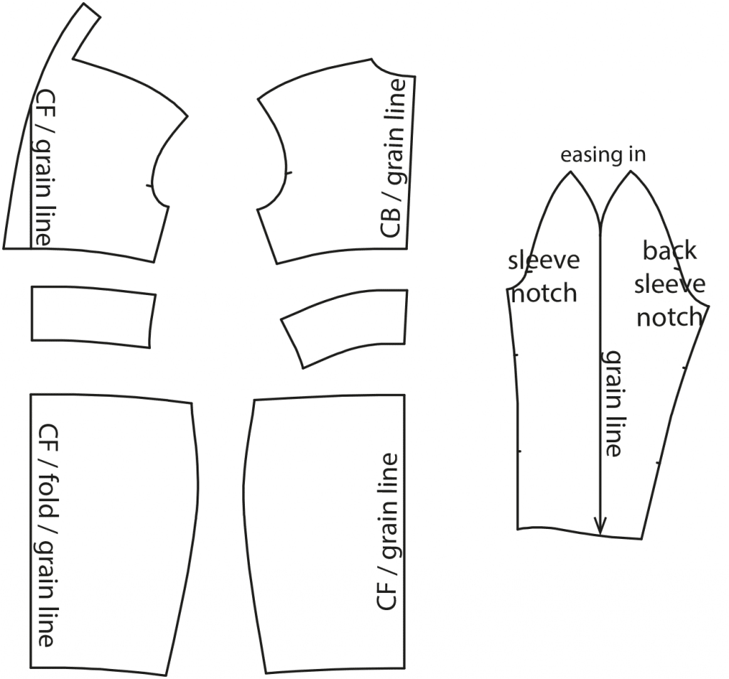 The photo shows the pattern pieces of a dress. The pattern is available on the pattern sheet.