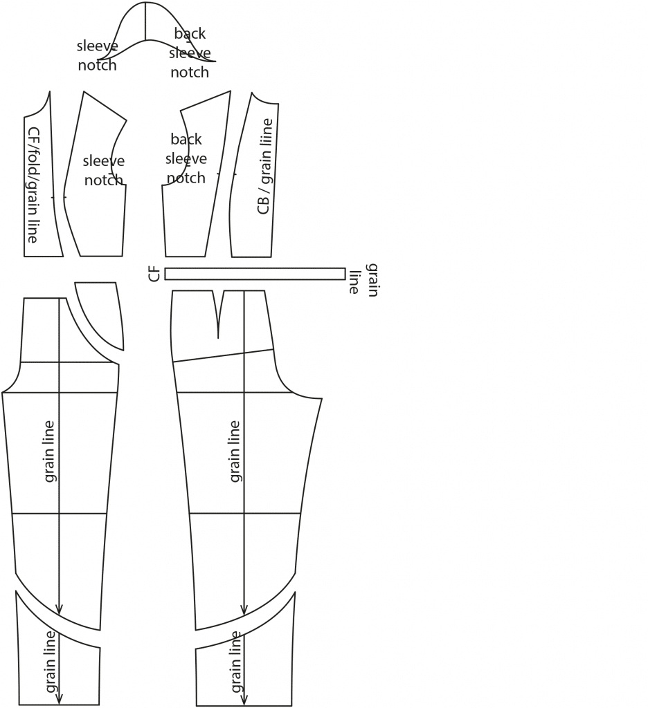 The photo shows the pattern pieces of a jumpsuit. The pattern is available on the pattern sheet.