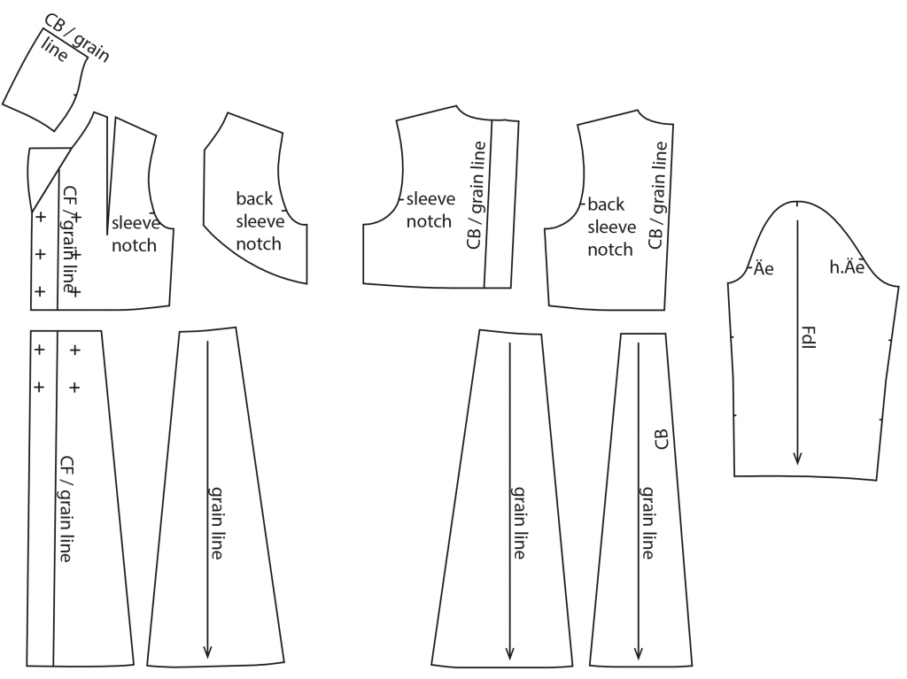 The photo shows the pattern pieces of a trenchcoat. The pattern is available on the pattern sheet.