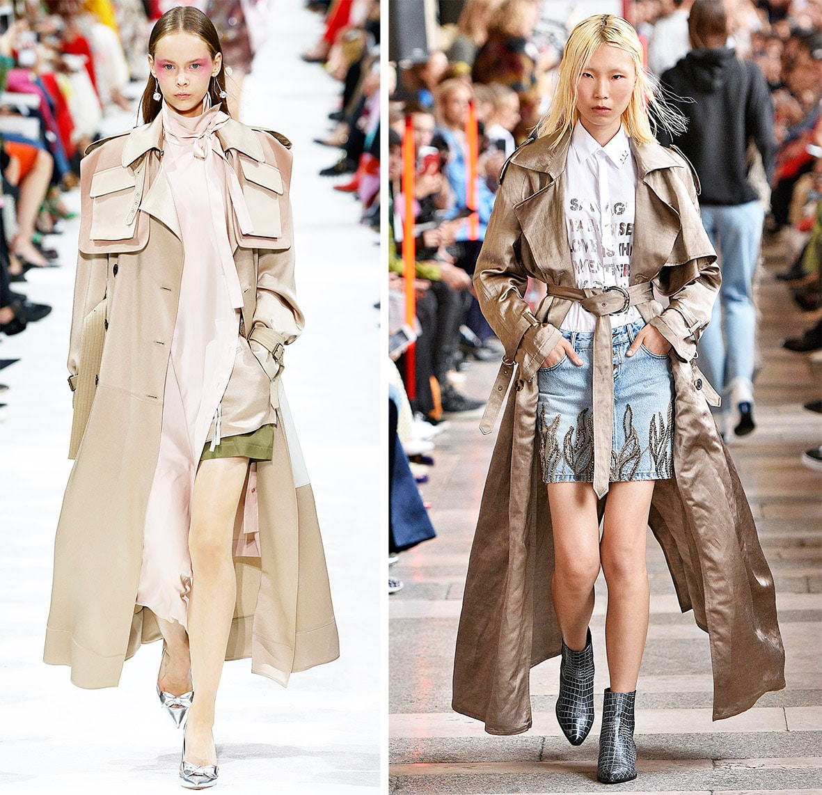 This photo shows a model walking on the catwalk. They are wearing trenchcoats. It´s the template for the pattern on the pattern sheet.