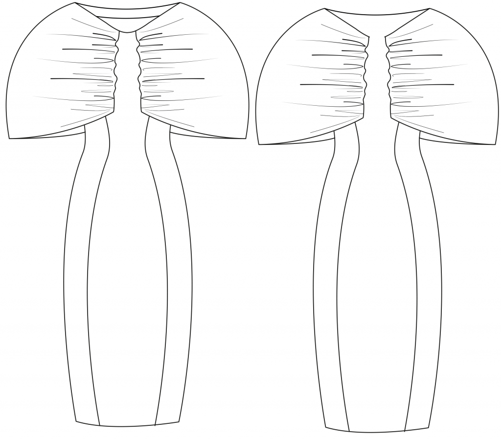 The technical drawing shows the front and back part of a sheath dress with sleeve variants. It´s the template for the pattern on the pattern sheet.