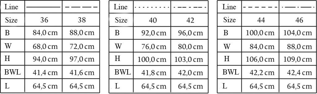 Size Chart for Pyjama
