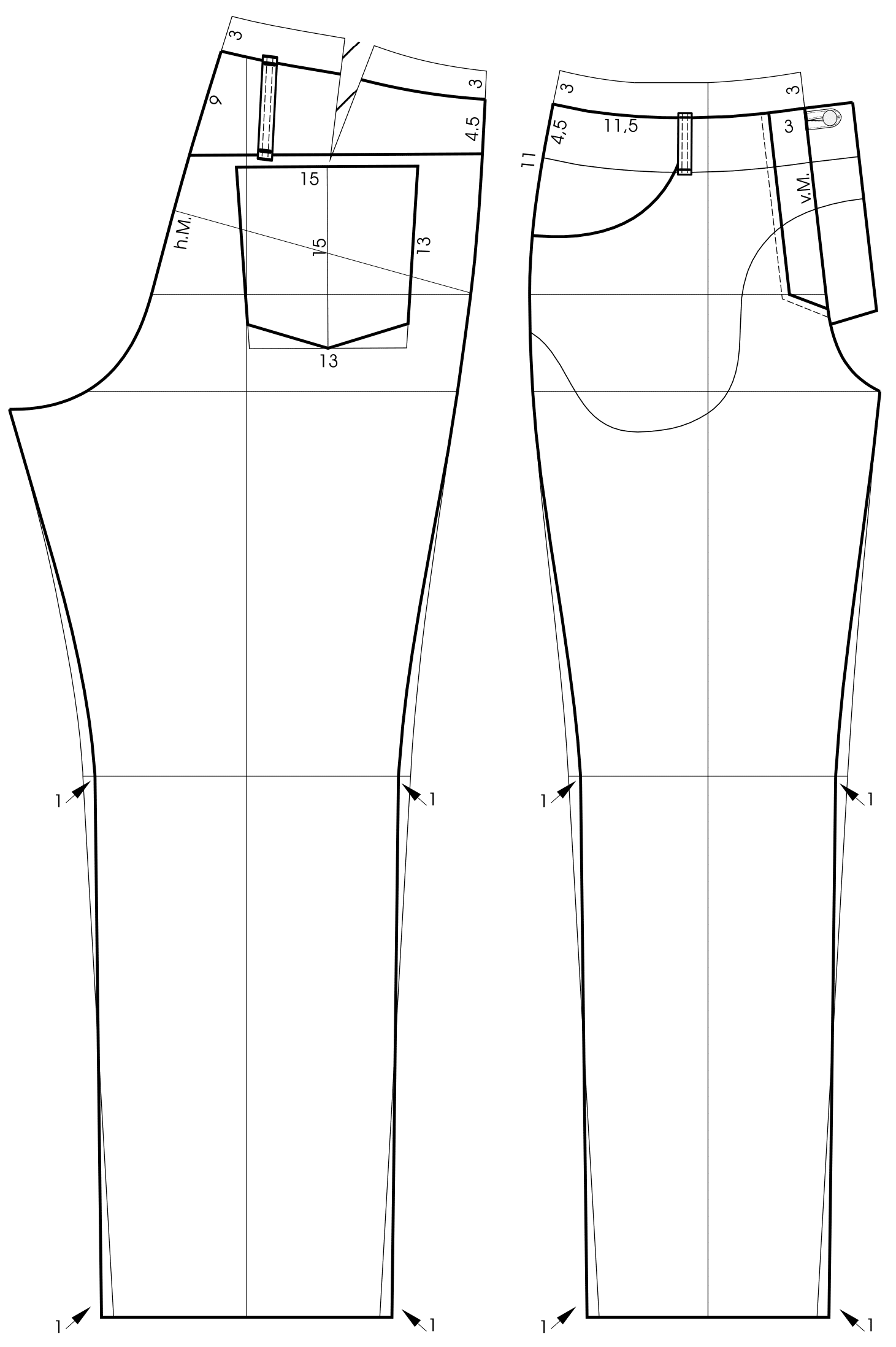 Pattern construction for Leather Trousers