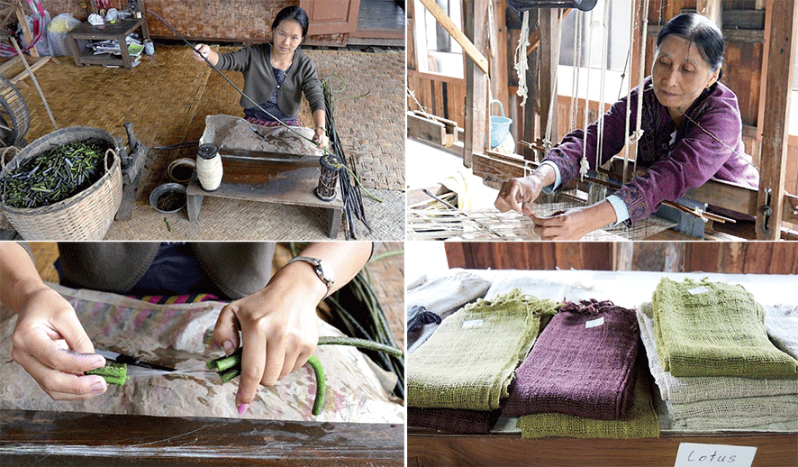 Weavers in the production of the precious lotus silk