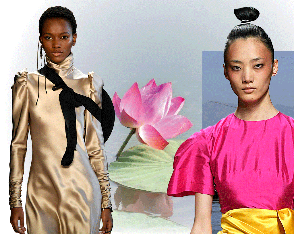 Models on the catwalk in silk dresses