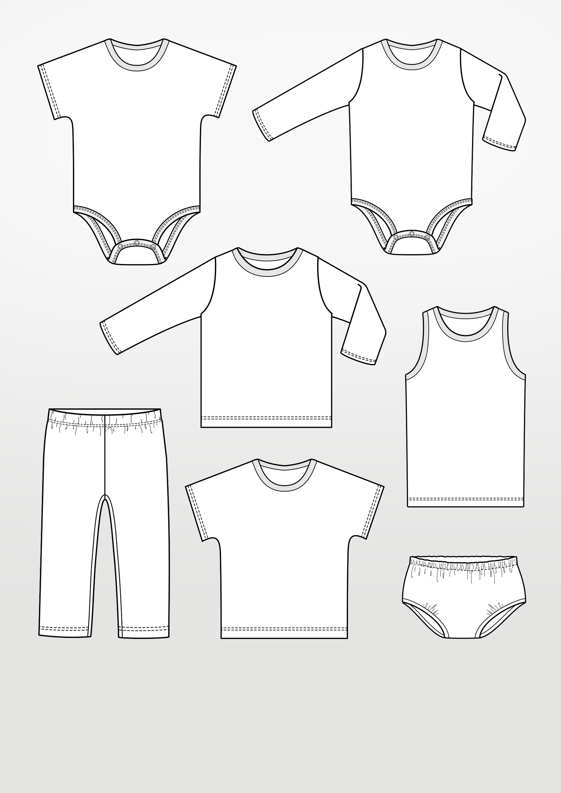 Sewing Pattern with Babyclothes