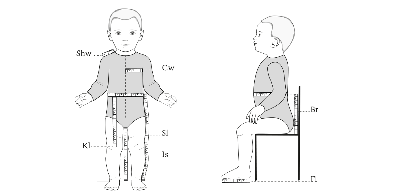 Instruction for taking measurements for baby clothes