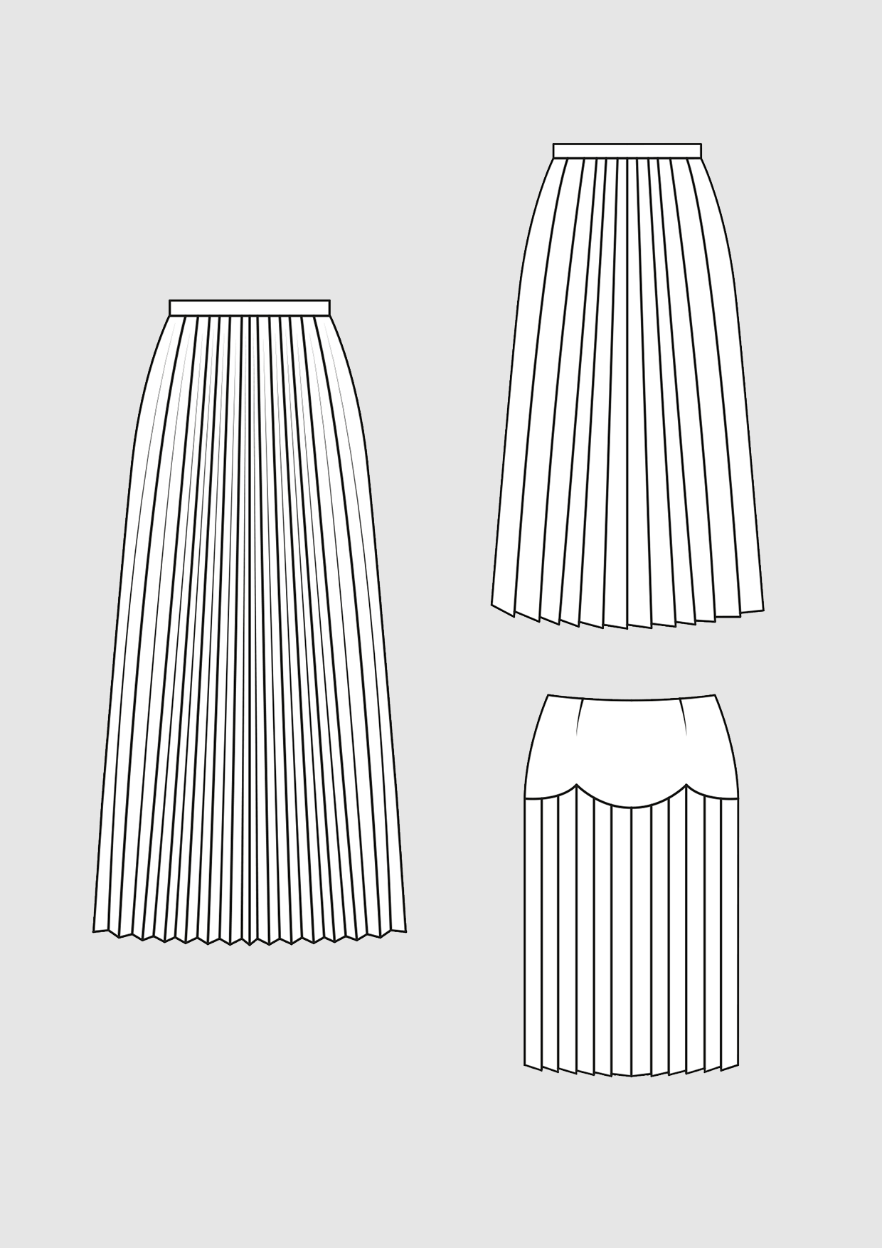 Product: Pattern Pleated Skirt and Plissé Skirt