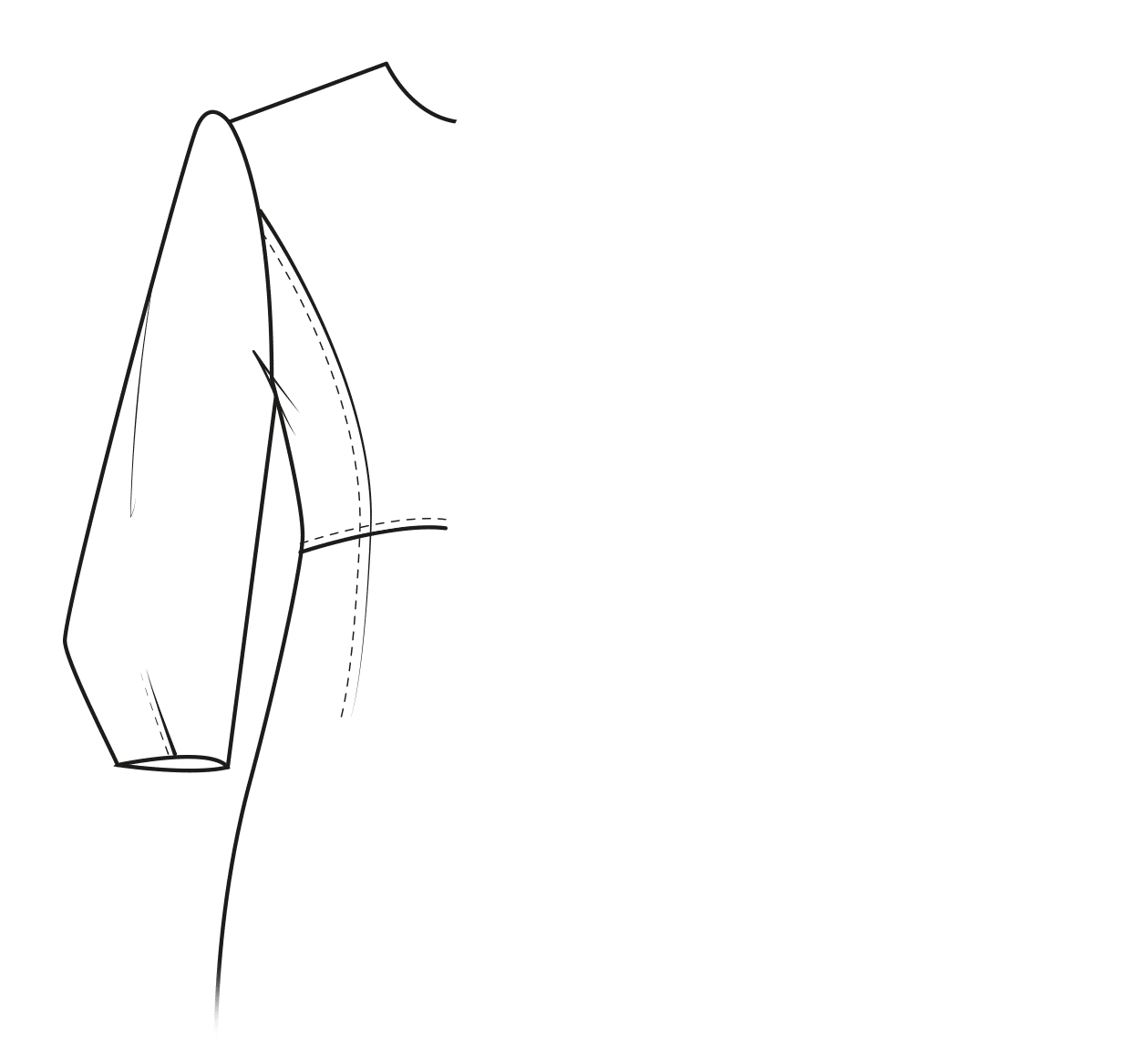Three-quarter lenght sleeve with darts